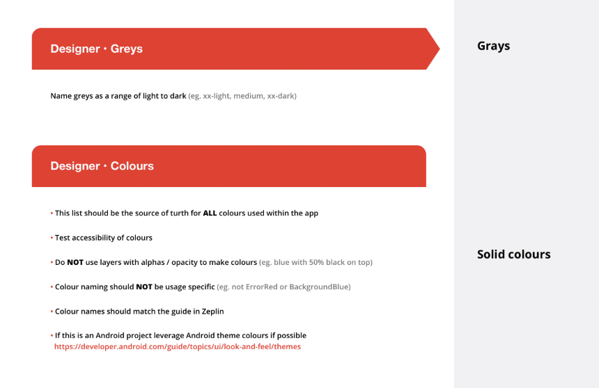 Screenshot from the Starter Kit outlining how to make, name and organize colours within a design system